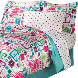 CHF Industries Inc - Peace Out Signs Twin Comforter Sheets Sham Bedding Set - FEATURES: