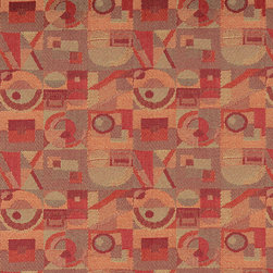 Red Persimmon Green Abstract Geometric Durable Upholstery Fabric By The Yard - P7235 is great for residential, commercial, automotive and hospitality applications. This contract grade fabric is Teflon coated for superior stain resistance, and is very easy to clean and maintain. This material is perfect for restaurants, offices, residential uses, and automotive upholstery.