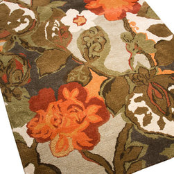 Jaipur - Blue Petal Pusher Rug, 5'x8' - Go ahead, take off your shoes and dig your toes into this rug. In 100 percent New Zealand wool with silk accents, colorful flowers are woven through the plush, 1/2-inch-thick, hand-tufted pile. It's a great way to add bright color and diggable sumptuousness to any room.