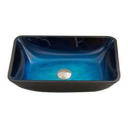 "VIGO - VIGO Rectangular Turquoise Water Glass Vessel Bathroom Sink - ""Inspired by the waters of the Caribbean, the VIGO Rectangular Turquois Water vessel sink will be the center of attention in your bathroom.  The ombre style of this rectangular vessel sink makes it unique."