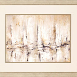 Paragon Decor - Sail Artwork - Abstract sailboats blend effortlessly into shades of cream and beige.  Matted in oyster and framed in distressed silver finish molding.