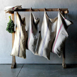 Vintage Laundry Sack - This large, vintage grain sack makes an excellent laundry bag for the vintage-inspired home. Use several to help you separate your darks, whites, and delicates.
