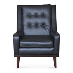 Bryght - Nina Liquorice Armchair - Mid century modern with a contemporary feel, the Nina chair with its beautiful leather upholstery, button tufted back, self welt detailing and smooth tapered legs adds a perfect touch of class to your ambiance