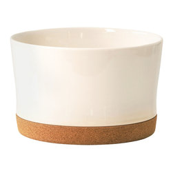 ACDC - Soul Mate Deep Bowl Pearl - This skillful marriage of materials brings earthenware ceramic and sustainable cork together in a truly functional way: a salad server, fruit bowl, flower arranger, planter, or wine chiller. Let your imagination decide...