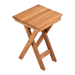 "Teakworks4u - Plantation Teak Shower Bench with Folding Scissor Legs (11"" x 9"") - Small Scissor Leg Table/Bench that can be used in multiple places, folds flat for easy storage"