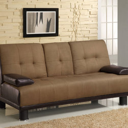 Coaster - Tan Casual Sofa Bed - This versatile sofa bed is finished in a two-tone combination for a sharp classic look, durable micro fiber fabric and brown leather-like vinyl. It also features a drop down center compartment for cup holders and ratchet back mechanism folds down to make this a comfortable sleeping solution.