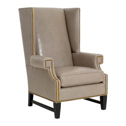 CR Laine - Grant Leather Chair - The contemporary Grant leather chair stands with regal style. Edged in nailhead trim, the seat's wingback silhouette modernizes classic lines for a striking statement. Shown in Bassano Putty LL; Available in a variety of fabric and finish options; Customizable nailhead trim ; Hand crafted in the USA using sustainable materials; Kiln-dried frames made from responsibly harvested hardwood; Water-based wood adhesive with no VOC emissions; Seat deck and trim pad made from 80% regenerated fibers; Cushion cores made from at least 10% natural plant-based ingredients