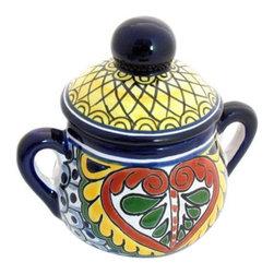 Mexican Talavera - Mexican Talavera Sugar Bowl, Design B - Mexican Talavera Sugar Bowl