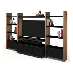 BDI - Semblance Home Theater Package 5423TJ - Semblance is a component driven storage system that allows you to customize each unit to meet your needs and adjust them as they may change. The Semblance Home Theater Package 5423TJ is a double wide unit with two shelving systems on either side of the TV stand. Adjust the shelves to your liking in increments of 2.5 inches and add 2 cabinet doors to store necessities tidily. Micro-etched glass, steel supports, along side hardwood gives the entire structure strength and stability. Pick between 3 color options.