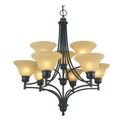 DHI-Corp - Bristol 9-Light Chandelier, Oil Rubbed Bronze - The Design House 512855 Bristol 9-Light Chandelier is made of formed steel, tea speckled glass and finished in oil rubbed bronze. This 9-light chandelier is rated for 120-volts and uses (9) 60-watt medium base incandescent bulbs. This chandelier's sprawling arms meet (9) downward facing lamps gently diffusing light from above. Measuring 32-inches (H) by 28.5-inches (W), this 21-pound fixture has a 48-inch chain to extend from high ceilings. Clean lines and sleek details add a modern accent in a kitchen, dining room or entry way. This product is UL and cUL listed. The Bristol collection features a beautiful matching pendant, wall sconce, ceiling mount and vanity light. The Design House 512855 Bristol 9-Light Chandelier comes with a 10-year limited warranty that protects against defects in materials and workmanship. Design House offers products in multiple home decor Categories including lighting, ceiling fans, hardware and plumbing products. With years of hands-on experience, Design House understands every aspect of the home decor industry, and devotes itself to providing quality products across the home decor spectrum. Providing value to their customers, Design House uses industry leading merchandising solutions and innovative programs. Design House is committed to providing high quality products for your home improvement projects.
