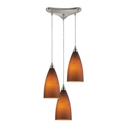 ELK Lighting - Three Light Satin Nickel Light Amber Glass Multi Light Pendant - Three Light Satin Nickel Light Amber Glass Multi Light Pendant