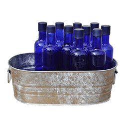 USA - Galvanized Planter Trough, 2 Gallon - The two gallon galvanized planter trough holds about 14 standard beverages (12.7 ounces).  Hot dipped zinc coating that prevents corrosion when kept outside and around any holes created for drainage. This item ships with a manufacturer label. Made in the USA. Rustic Hot Dipped Galvanized Finish.