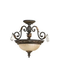 Quorum Lighting - Quorum Lighting Rio Salado Traditional Semi Flush Mount Ceiling Light X-44-71-75 - There's nothing simple about this Rio Salado traditional semi-flush mount ceiling light by Quorum Lighting. It has Victorian and Mexican influences, as evident in the ironwork in a toasted sienna finish accented with leaves and tendrils of metal and the amber linen glass shade. It's an elegance piece that's impeccably designed.