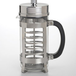 BonJour - BonJour 8-cup Linear French Press Carafe - Enjoy a cup of delicious tea or coffee from this carafe from BonJour. Stylish and convenient,this glass carafe is encased in a protective stainless steel frame and accented with a cosmopolitan pattern of rectangular cutouts.