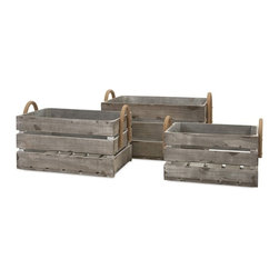 "Imax - Weathered Wood Crates w/ Rope Handles - Set of 3 - *Dimensions: 8.5-10.25-11.75""h x 15.75-18.75-21.5""w x 10.25-12.25-14"""