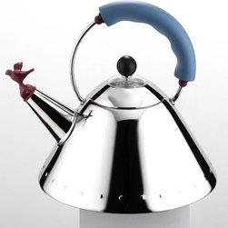 """Alessi - 9093 Signature  67oz Kettle with Bird Whistle by Michael Graves, 1985 - The 9093 Kettle with Bird Whistle became a household favorite throughout the world from the very beginning (1985). This sole design has sold the greatest number of units in the entire history of Alessi, and, furthermore, it has been cited in numerous design manuals as one of the """"most influential objects of the post-modern style."""" It is considered a forerunner to designs of today that incorporate a very """"playful"""" approach. Features: -Popular and influential post-modern design . -18/10 stainless steel . -Dimensions: 9""""H x 8.5"""" diameter (Holds 2qt. 3oz. or 9 cups) ."""