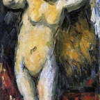 "Paul Cezanne Standing Bather, Drying Her Hair Print - 14"" x 28"" Paul Cezanne Standing Bather, Drying Her Hair premium archival print reproduced to meet museum quality standards. Our museum quality archival prints are produced using high-precision print technology for a more accurate reproduction printed on high quality, heavyweight matte presentation paper with fade-resistant, archival inks. Our progressive business model allows us to offer works of art to you at the best wholesale pricing, significantly less than art gallery prices, affordable to all. This line of artwork is produced with extra white border space (if you choose to have it framed, for your framer to work with to frame properly or utilize a larger mat and/or frame).  We present a comprehensive collection of exceptional art reproductions byPaul Cezanne."