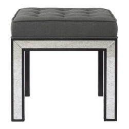 Kathy Kuo Home - Eden Hollywood Regency Mirrored Ottoman Smoke Gray Tufted Seat - Elegant, urbane, and always ready for cocktail hour, this deco-inspired Hollywood regency ottoman creates style and interest wherever it is placed - not unlike your favorite guest.  Bring this guest home to stay and enjoy a one year warranty  Custom made here in the USA- a 6 week lead time is necessary for completion.  All sales final on custom orders.