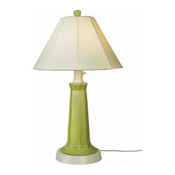 Patio Living Concepts - Patio Living Concepts Nantucket 35 Inch Table Lamp w/ Mint Julep Base & Natural - 35 Inch Table Lamp w/ Mint Julep Base & Natural Linen Shade belongs to Nantucket Collection by Patio Living Concepts Distressed mint julep green resin lamp base highlights this stylish outdoor lamp. Two level dimming switch and 16' weatherproof cord and plug. Unbreakable polycarbonate waterproof bulb enclosure allows the use of a standard 100 watt light bulb. Lamp (1)