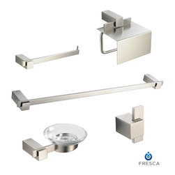 "Ellite 5 Piece Bathroom Accessory Set Brushed Nickel - All of our Fresca bathroom accessories are made with brass with a triple brushed nickel finish and have been chosen to compliment our other line of products including our vanities, faucets, shower panels and toilets.  They are imported and selected for their modern, cutting edge designs.  Fresca Ellite 24"" Towel Bar (FAC1437BN)- Dimensions:  23.5""W x 3""D x 1""H. Fresca Ellite Soap Dish (FAC1403BN) - Dimensions:  6""W x 4.75""D x 2""H. Fresca Ellite Toilet Paper Holder (FAC1426BN) - Dimensions:  5.75""W x 7""D x 6.5""H. Fresca Ellite Towel Ring (FAC1463BN) - Dimensions:  10""W x 3""D x 1""H. Fresca Ellite Robe Hook (FAC1401BN) - Dimensions:  1""W x 1.5""D x 2""H. Heavy Duty Brass with Triple Brushed Nickel Finish"