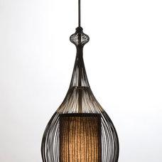 Contemporary Pendant Lighting Paavo Pendant: Black with Black Fabric Shade