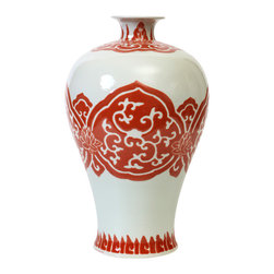 "Bungalow 5 - Bungalow 5 Bokara Mei Ping Orange Vase - The Bungalow 5 Bokara Mei Ping vase exudes elegant Eastern style in contemporary interiors. A sculpted porcelain form, this white vessel excites with a hand-painted botanical motif. 8.5""W x 14.5""H; Orange"