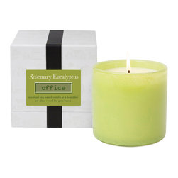 Rosemary Eucalyptus / Office Candle - A perfect blend of floral sweetness with herbal sharpness, the scent of the Rosemary Eucalyptus Office Candle is an invigorating embrace of refreshing green fragrance.  This clean, awakening aroma, perfect for active areas of your home, renews your alertness and centers your mind whenever you light the wick to begin to melt the oversized candle's soy-based wax.