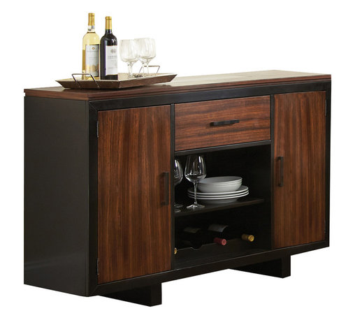 Steve Silver Furniture - Steve Silver Julian Server in Zebra Wood - Server in Zebra Wood belongs to Julian Collection by Steve Silver With a modern edge and contrasting visual style, the Julian server sits in a class by itself. Made of hardwood solids and zebra wood veneers, the server features doors, drawers, and adjustable shelf and wine storage.  Server(1)