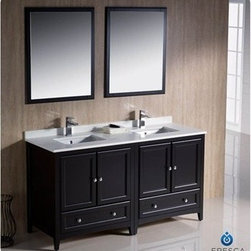 "Fresca - Fresca Oxford 60"" Traditional Double Sink Bathroom Vanity - Espresso - Fresca's Oxford collection is just what you have been looking for. Solid construction with wonderful soft-close dovetail drawers. Available in the rich finishes of Espresso, Antique White and Mahogany. All of the vanities in the Oxford line come with seamless Quartz Stone Countertop and Backsplash. Many faucet styles to choose from. Bring the clean lines of the Oxford from Fresca into your home for many years of enjoyment. Features Espresso Finish Solid Wood Frame, MDF Panels Quartz Stone Countertop Ceramic Undermount Sinks with Overflow Single Hole Faucet Mounts (Faucets Shown In Picture May No Longer Be Available So Please Check Compatible Faucet List) 4 Soft Close Doors 2 Soft Close Dovetail Drawers Seamless Countertop with Matching Backsplash Mirrors Included P-trap, Faucets, Pop-Up Drains and Installation Hardware Included How to handle your counter Installation Guide"