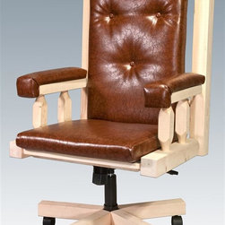 Montana Woodworks - Upholstered Office Chair - Handcrafted. Rustic timber frame design. Heirloom quality. Swivel. An adjustable base for comfort and ease of use. Padded seat, back and arms. Roller casters. Made from solid U.S. grown wood. Made in USA. Assembly required. 27 in. W x 24 in. D x 48 in. H (62 lbs.). Warranty. Ready to Finish. Use and Care InstructionsThe perfect chair to accompany the perfect desk!