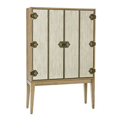 Arteriors Home - Arteriors Home Chelsey Bookcase/Bar Cabinet - Arteriors Home 5196 - Inspired by the Orient Express and its wealthy guests, this bookcase won't get you to Istanbul but it will get you organized. Luxurious, linen-clad bi-fold doors have nail head trim and ornate hinges. The doors open to reveal glass shelves, two drawers a mirrored back and recessed lighting. It's a wonderful place to keep wonderful things.