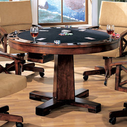 Coaster - Convertible Dining Table (Bumper Pool & Poker) in Oak - Three-in-one oak bumper pool table with 42 of playing surface. Table can be used as a dining table, poker table or bumper pool. Pool sticks and balls included. Solid oak upholstered arm chairs include casters.