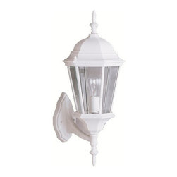 BUILDER - KICHLER 9654WH Madison Transitional Outdoor Wall Sconce - With its timeless colonial profile, the Madison is the perfect line of outdoor fixtures for those looking to embellish classic sophistication. Because it is made from cast aluminum and comes in an extensive amount of different finishes, this Madison 1-light wall lantern can go with any home decor while being able to withstand the elements. It features a White finish with clear beveled glass panels. U.L. listed for wet location.