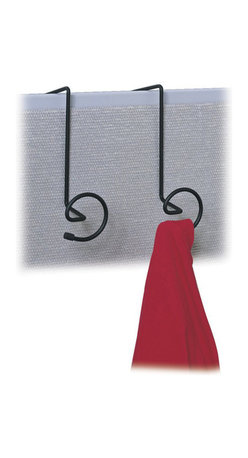 Safco - Safco PanelMate Wall Coat Rack Hook (Set of 6) - Safco - Coat Racks - 4148CH - Hanger workstation coat hook features 2 spiral-shaped hooks with plastic coated ends to prevent damage to garments. Strong welded steel construction in a continuous loop design with epoxy finish. Universal mounting system included. Packed 6 per carton.