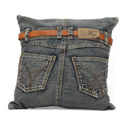 Zuo Modern - Zuo Jean Cushion in Blue Denim w/ Back Jean - Jean Cushion in Blue Denim w/ Back Jean by Zuo Modern Made from recycled denim fabric sewn into a whimsical design, the Jean Cushion in is a must for any room.   Cushion in (1)