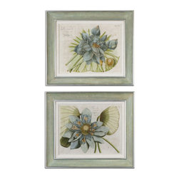 The Uttermost Company - Blue Lotus Flower Art - Inner portion of frames have very soft, muted colors of green, gray, pink and lavender.  Outer and inner lips have a silver leaf finish with gray glaze.  Frames also have an off-white linen liner.