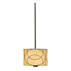TIFFANY - TIFFANY 65324 Spyro Tiffany Mini Pendant Light - This 1 light mini pendant from the art glass Spyro Collection has the straight lines of contemporary design, but the warmth of transitional styling. With colors and materials that bring in richness and warmth - like an Olde Bronze(R) Finish, iridescent art glass and chic drum shade - Spyro offers a strong modern flair that's comfortable and inviting. Comes with 62 inches of extra lead wire and uses 1 100W bulb. For additional 12 inch stems order, 2999OZ and for chain, 2996OZ.