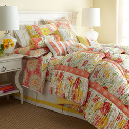 """Horchow - Full/Queen Quilt, 90"""" x 90"""" - She'll love sleeping in a beautiful flower-filled meadow night after night. These colorful bed linens detailed with ruching, embroidery, and more are made of cotton. Quilts have cotton batting. Comforters and pillows have a polyester fill. Dust skirt..."""