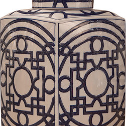 Dessau Home - Dessau Home Blue & White Geometric Tea Jar -