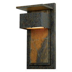 Quoizel - Quoizel ZP8418MD Zephyr Transitional Outdoor Wall Sconce - Enhance the exterior of your home with this unique contemporary design.  It features a richly mottled backplate with a slate accent.  Slate is a finegrained natural stone that was formed on ancient sea beds over millions of years.  It is a stately and durable stone that will leave a lasting impression.