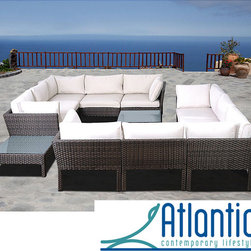 Atlantic - Majorca 12-piece Wicker Sectional - This wicker sectional that combines quality,style and confort. This modern set will make an immediate impact in your patio with contemporary style.