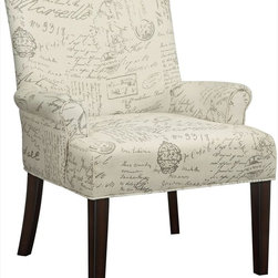 "Coaster - Accent Chair, Geometric Circle Pattern - Add a classic vintage look to your room with this French script accent chair. Featuring a slightly curved back, padded seating and cappuccino legs.; Finish/Color: French Script pattern; Upholstery: Linen-like fabric; Dimensions: 28""L x 27""W x 38""H"