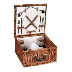Household Essentials - Willow Picnic Basket Lined, Service for 2, Brown - Our Willow Picnic Basket with linen-lining keeps all your plates, silverware, and glasses securely stowed. With buckles keeping your basket securely closed and a sturdy handle for carrying, it is spacious enough for a full meal for two. Perfectly suited for a small outing or an intimate picnic.