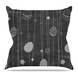 """KESS InHouse - KESS Original """"Chalk Eggs Black"""" Gray Eggs Throw Pillow, Outdoor, 26""""x26"""" - Decorate your backyard, patio or even take it on a picnic with the Kess Inhouse outdoor throw pillow! Complete your backyard by adding unique artwork, patterns, illustrations and colors! Be the envy of your neighbors and friends with this long lasting outdoor artistic and innovative pillow. These pillows are printed on both sides for added pizzazz!"""
