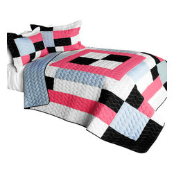 Blancho Bedding - 3 Piece Vermicelli Quilted Patchwork Quilt Set, Full/Queen, Campus Belle - The Campus Belle 100% TC Fabric Quilt Set,  Full/Queen Size,  includes a quilt and two quilted shams. This pretty quilt set is handmade and some quilting may be slightly curved. The pretty handmade quilt set make a stunning and warm gift for you and a loved one! For convenience, all bedding components are machine washable on cold in the gentle cycle and can be dried on low heat and will last for years. Intricate vermicelli quilting provides a rich surface texture. This vermicelli-quilted quilt set will refresh your bedroom decor instantly, create a cozy and inviting atmosphere and is sure to transform the look of your bedroom or guest room.,  Dimensions: Full/Queen quilt: 90.5 inches x 90.5 inches; Standard sham: 24 inches x 33.8 inches,