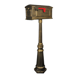 Tacoma Mailbox and Post Set - Add beauty and grandeur to your home with the Tacoma mailbox and post set.  The post features a hexagonal base, tapered column, and mid-section decorative bands, while the traditional mailbox is accented by a raised, ornamental braid.
