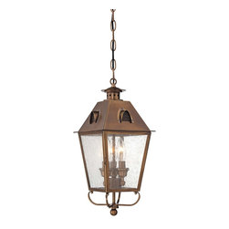 """Minka Lavery - Traditional Edenshire 18 1/2"""" High Brass Hanging Outdoor Light - Add style to your outdoor lighting with the Edenshire Collection from Minka Lavery. Finished in an English brass with dimensional clear seedy glass this hanging outdoor light is made of shining brass for lasting style. Perfect for entryways. Brass construction. English brass finish. Clear seedy glass. Hinged door. Takes three 60 watt candelabra base bulbs (not included). Includes chain. 18 1/2"""" high. 8 1/4"""" wide. 8 1/4"""" deep.  Brass construction.  English brass finish.  Clear seedy glass.  Hinged door.  Takes three 60 watt candelabra base bulbs (not included).  Includes chain.  Damp location rated only.  18 1/2"""" high.  8 1/4"""" wide.  8 1/4"""" deep."""
