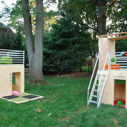 Play Modern Playhouses - Modern, modular, eco-friendly playhouses.  The natural birch finish is for indoors.  The Mahogany finish is for outdoors.  One- and two-story configurations are possible.  Limitless configurations. Photos courtesy of Iiams Images and Play Modern Ltd.