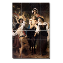 Picture-Tiles, LLC - The Return From The Harvest Tile Mural By William Bouguereau - * MURAL SIZE: 48x32 inch tile mural using (24) 8x8 ceramic tiles-satin finish.