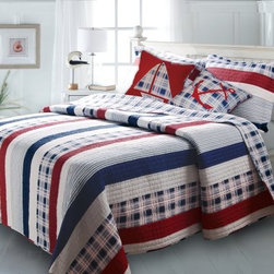 Greenland Home Fashions Nautical Stripe Bonus Quilt Set - When the Greenland Home Fashions Nautical Stripe Bonus Quilt Set is the first thing you see in the morning or the last thing you see at night, you know you've done something right. This appealing and patriotic set features a comforter, a sham or two (depending on the size), and a pair of coordinating throw pillows that make this an easy, complete set for any room. Each piece is crafted from high-quality, 100% cotton for comfort and the kind of durability you need for everyday use. The comforter features channel stitching and a two-sided design that offers a mix of stripes, solids, and plaid on the front with an all-over plaid on the reverse. A pair of matching throw pillows puts the wind in the sails of this nautical style, while matching shams finish off the look. Each piece is machine washable, and the comforter is offered in a range of sizes, each a bit oversized to accommodate today's deeper mattresses.Product Dimensions:Twin comforter: 88L x 68W in. Full/queen comforter: 90L x 90W in.King comforter: 95L x 105W in.Small sham: 20L x 26W in.Large sham: 20L x 36W in.Decorative pillow: 18W x 18L in.About Greenland Home FashionsFor the past 16 years, Greenland Home Fashions has been perfecting its own approach to textile fashions. Through constant developments and updates - in traditional, country, and more modern styles – the company has become a leading supplier and designer of decorative bedding to retailers nationwide. If you're looking for high-quality bedding that not only looks great but is crafted to last, consider Greenland.